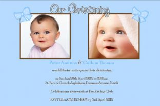 Personalised Boy Twins Christening Photo Invitations